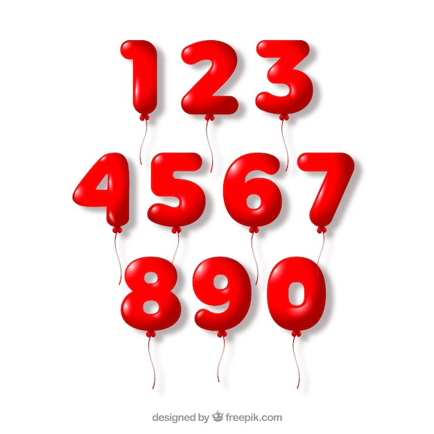 Red number collection Free Vector