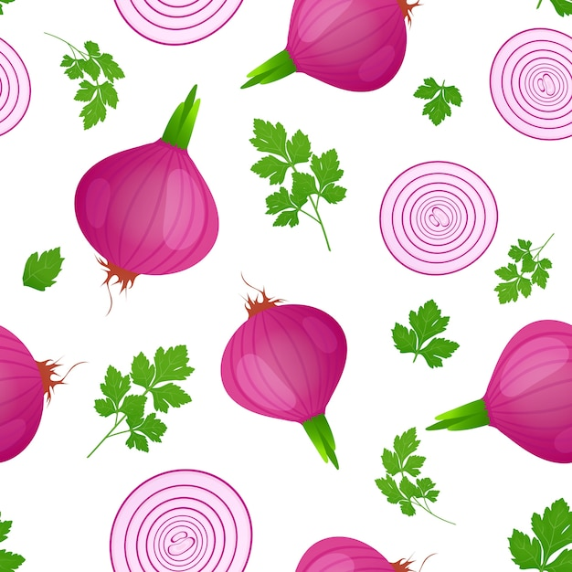 Red onion bulb with green sprout and slice isolated on white background. ripe onion with parsley le