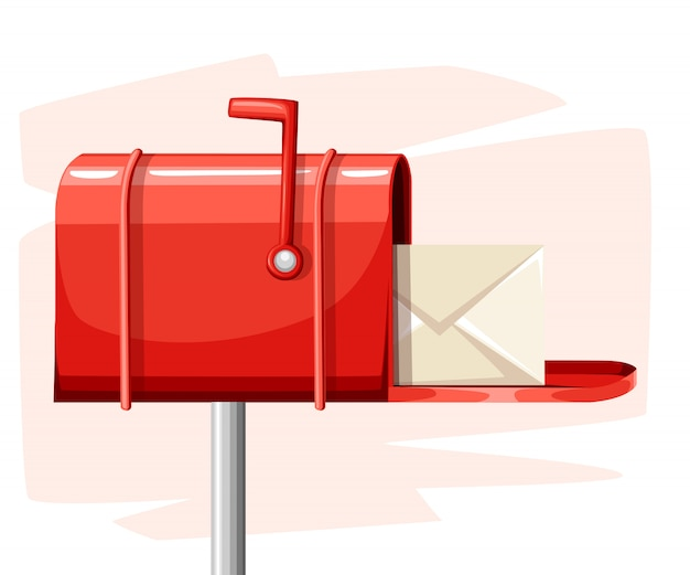 Red open mail box post with mail in the  style  illustration  on white background website page and mobile app Premium Vector