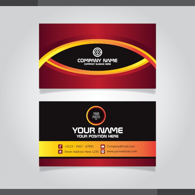Red and orage abstract business card template - eye motif design Premium Vector