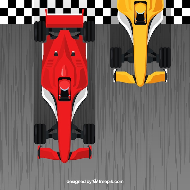Red and orange f1 racing cars crossing finish line Free Vector