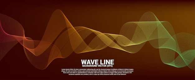 Red and orange sound wave line curve on red background. element for theme technology futuristic vector Premium Vector