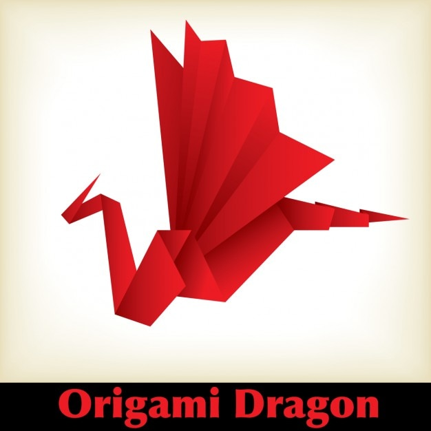 Red Origami Dragon Free Vector