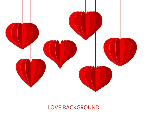 빨간 종이 접기 하트 종이 잘라 배경. 발렌타인 데이, 사랑 낭만주의 상징 접힌 중국어 등불 프리미엄 벡터