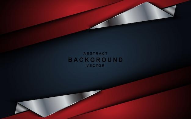 Red overlap layers background dark gray. Premium Vector