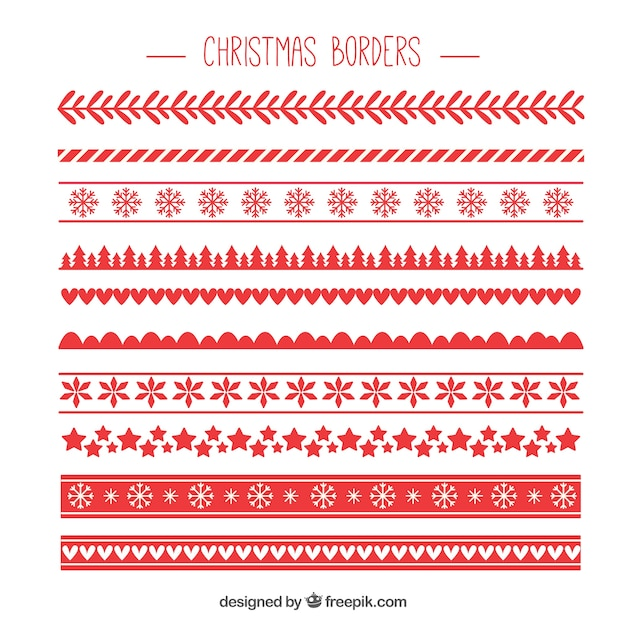 Red pack of christmas borders Free Vector