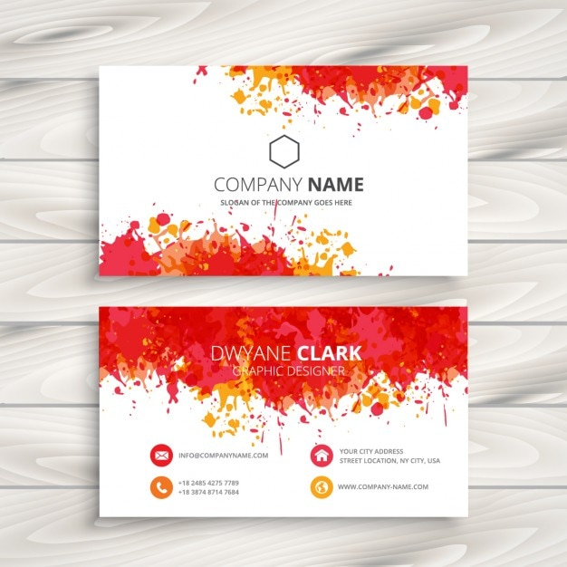 Red paint splash business card Free Vector