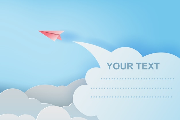 Red paper airplanes flying on blue sky Premium Vector
