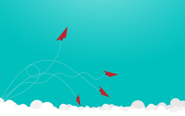 Red paper airplanes Premium Vector