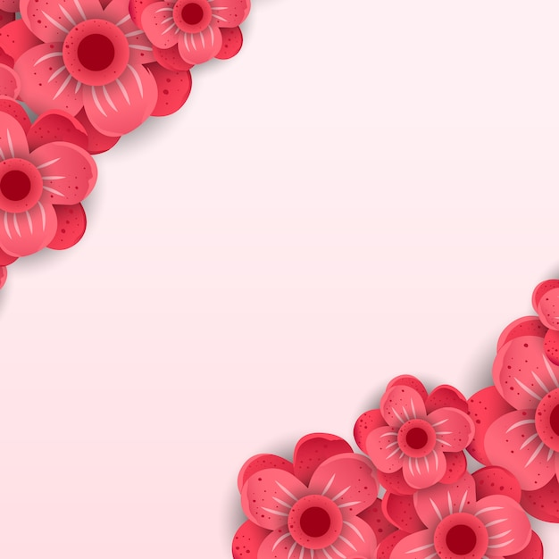 Red paper cut flowers vector banner Premium Vector