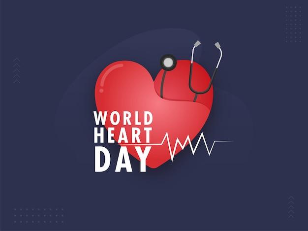 赤い紙は、世界のハートの日の青い背景に聴診器で心をカットしました。 Premiumベクター