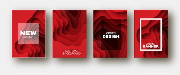 Red paper cut wave shapes. Premium Vector