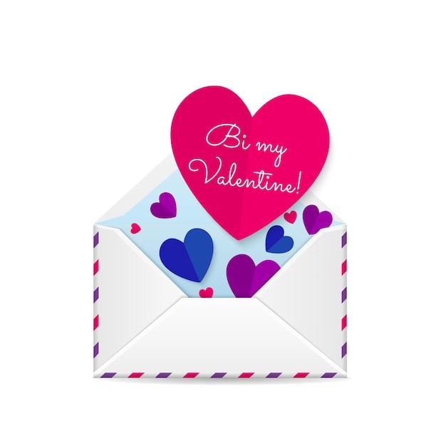 バレンタインデーのグリーティングカードの赤い紙の心 Premiumベクター