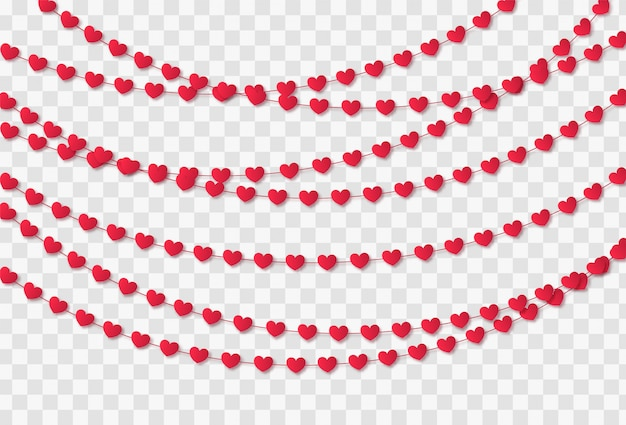 Red paper hearts garland isolated on a transparent background. valentine's day celebration Premium Vector