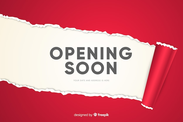Red paper opening soon background realistic design Free Vector