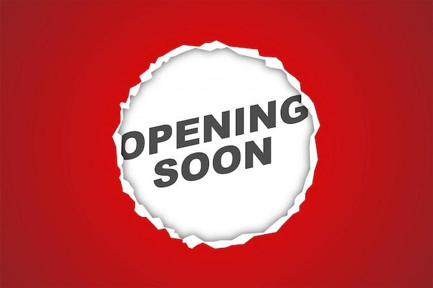 Красная бумага скоро откроется, реалистичный фон, дизайн веб-баннера, дисконтная карта, продвижение, макет листовки, реклама, реклама, печатные сми Premium векторы
