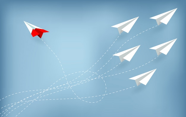 Red paper plane changing direction from white. new idea. Premium Vector