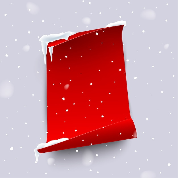 Red paper sheet with curled edges isolated on snowfall background Premium Vector
