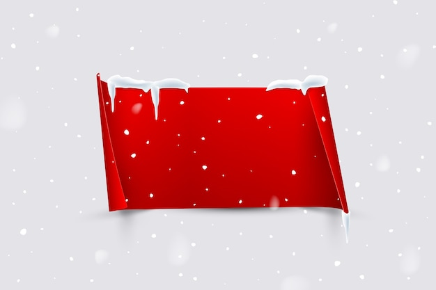 Red paper sheet with curled edges isolated on snowfall background. Premium Vector