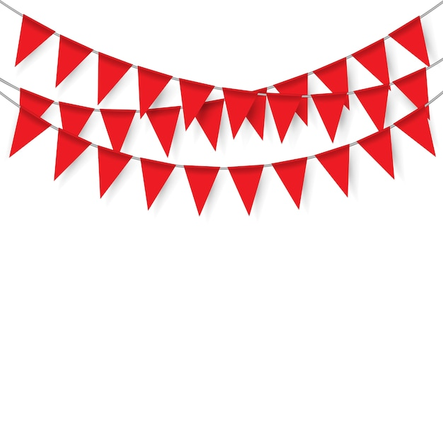 red party flags on white background vector premium download