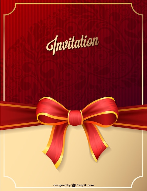 Red party invitation with ribbon Vector – Party Invitation Images
