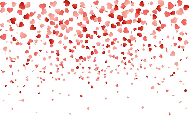 Red pattern of random falling hearts confetti. border design element for festive banner, greeting card, postcard, wedding invitation, valentines day and save the date card. Premium Vector