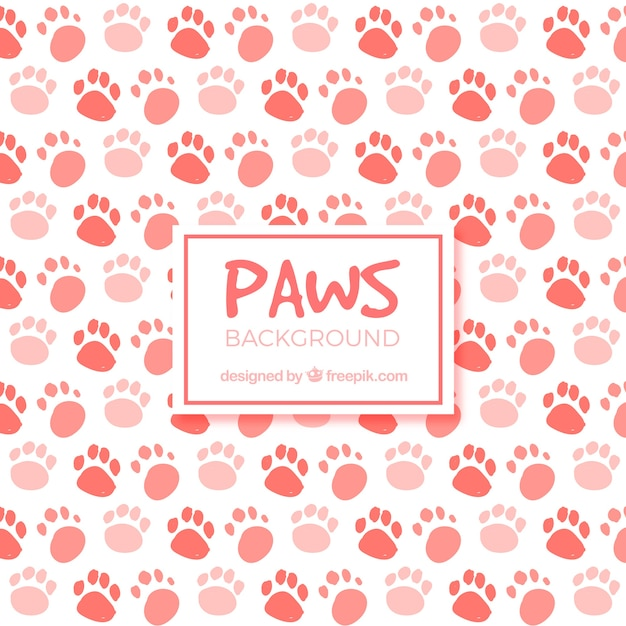 Red paws background Free Vector