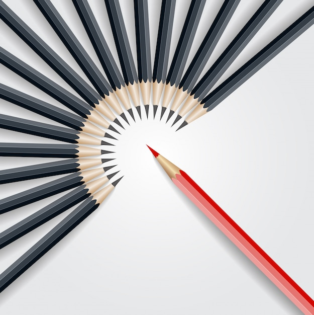 Red pencil standing out from crowd out from black pencil. business success leadership concept Premium Vector