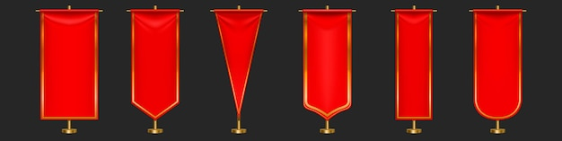 Red pennant flags different shapes on gold pillar. Free Vector