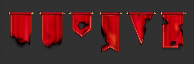 Red pennant and flags in different shapes with burnt edges and holes after fire or war. Free Vector