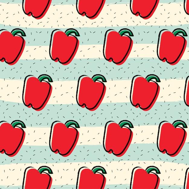 Red pepper paprika fruit pattern background Premium Vector