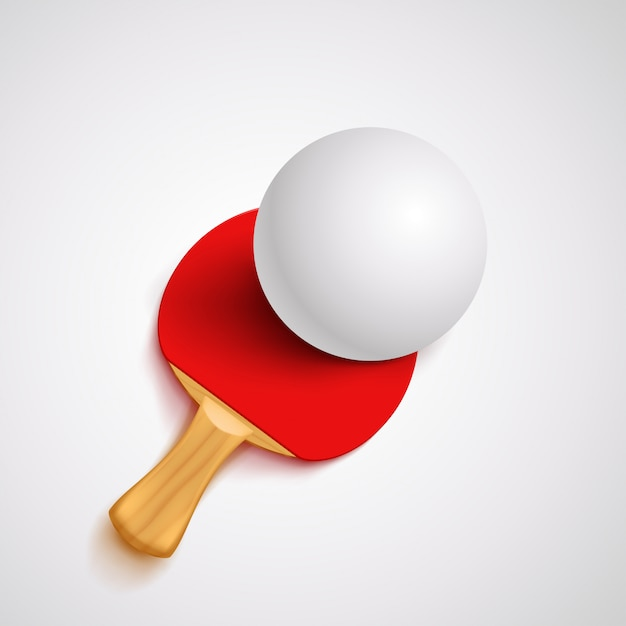 Red ping pong racket Premium Vector