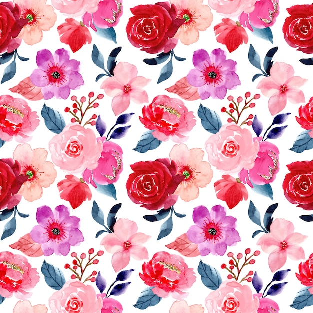 Red pink flower seamless pattern with watercolor Premium Vector