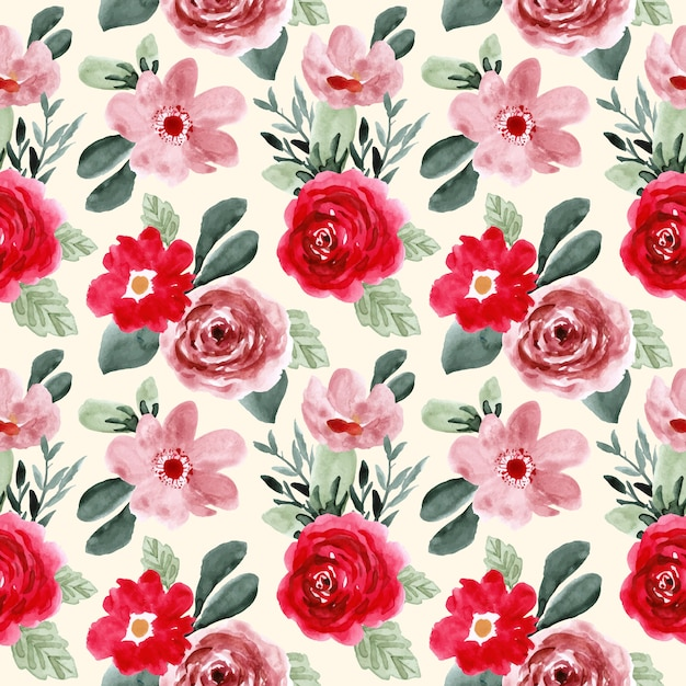 Red pink green flower watercolor seamless pattern Premium Vector