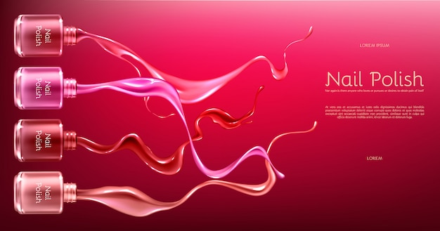 Red or pink nail polish 3d realistic vector ads banner with glass bottle in glossy Free Vector