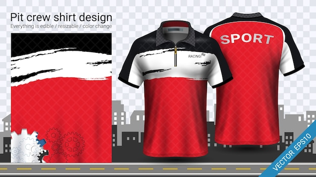 Pit Crew Shirts >> Red Pit Crew Shirts Mockup Template Vector Premium Download