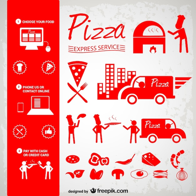 Red pizza icons Vector | Free Download