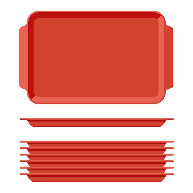 Красный пластиковый пустой поднос для еды с ручками. прямоугольные кухонные подносы, изолированные на белом фоне. пластиковый лоток для иллюстрации столовой, прямоугольная стопка тарелок, вид сверху. Premium векторы