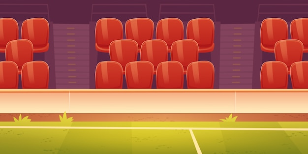 Red plastic seats on sport stadium tribune Free Vector