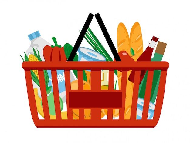Красная пластиковая корзина полна продуктов. покупки в супермаркете. Premium векторы