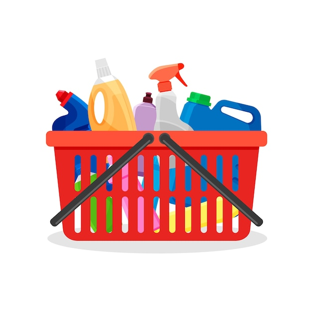 Red plastic shopping cart full of detergent bottles and containers. supermarket basket with cleaning supplies and washing powder products. Premium Vector