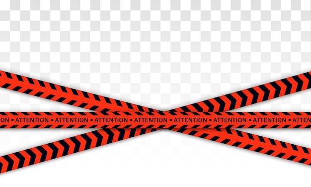 赤い警察線警告テープ、危険、注意テープ。 covid-19、検疫、停止、交差しない、国境閉鎖。赤と黒のバリケード。コロナウイルスによる検疫ゾーン。危険の兆候。 Premiumベクター