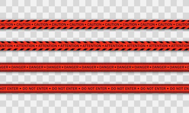 赤い警察ライン警告テープ、危険、注意テープ。 covid-19、検疫、停止、交差しない、国境閉鎖。赤と黒のバリケード。コロナウイルスによる隔離ゾーン。危険標識。 。 Premiumベクター