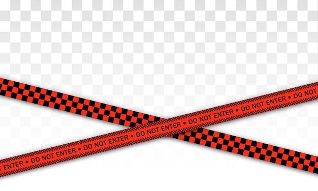 赤い警察ライン警告テープ、危険、注意テープ。 covid-19、検疫、停止、交差しない、国境閉鎖。赤と黒のバリケード。 Premiumベクター