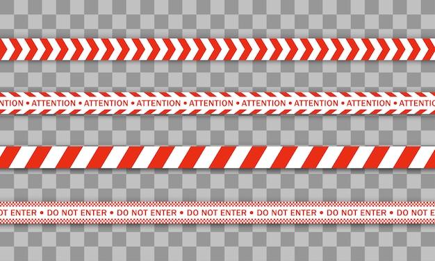 Red police line warning tape, danger, caution tape. quarantine zone due to coronavirus. covid-19, quarantine, stop, do not cross, border closed. red and white barricade. danger signs.  . Premium Vector