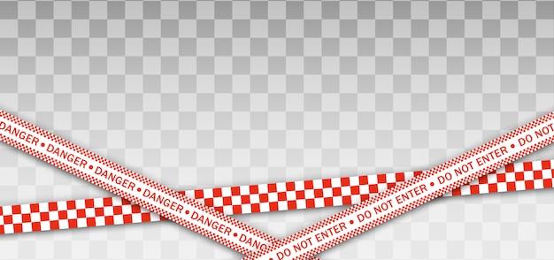 赤い警察ライン警告テープ、危険、注意テープ。隔離地域 Premiumベクター