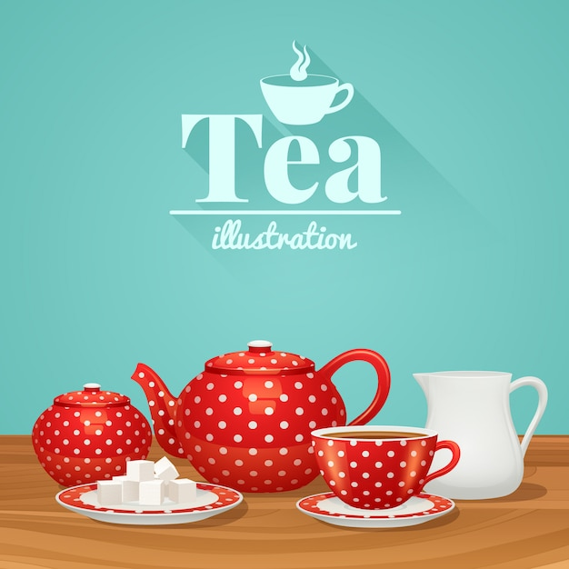 Red polka dot tea pottery set with teapot cup saucer Free Vector