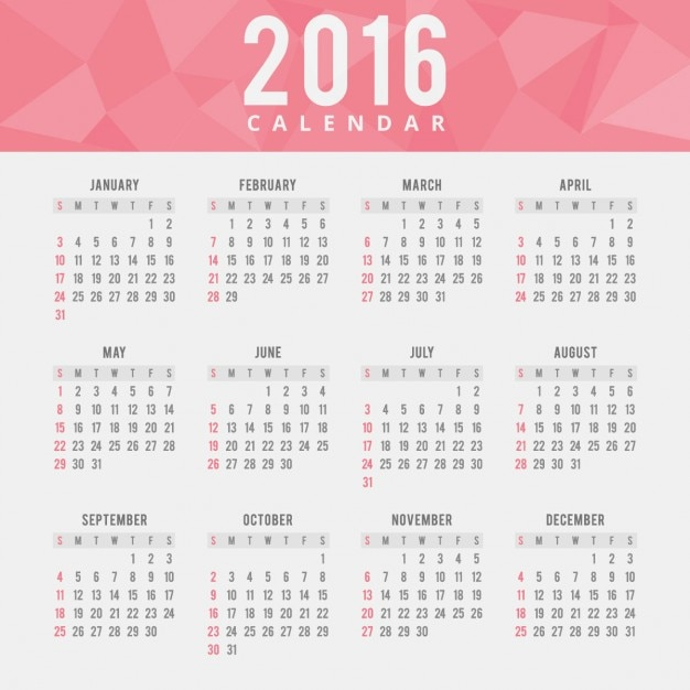 Calendar Red : Red polygonal calendar vector free download