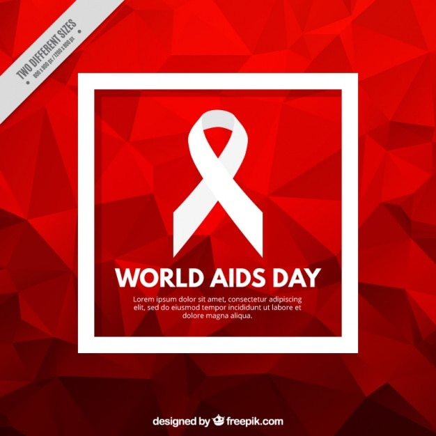 Red polygonal background of world aids day Free Vector