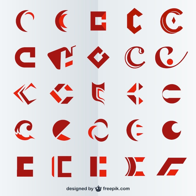 Red polygonal logos collection Free Vector